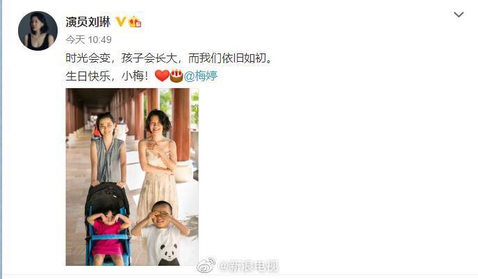 刘琳为梅婷庆生 晒二人与孩子们合照温情满满