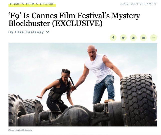 《速度与激情9》将于戛纳首映